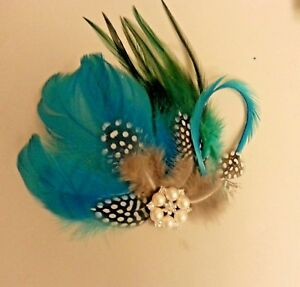 Blue Green Feather fascinator Gatsby Flapper Crystal hair clip Fascinator