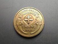 Surfrappe de la croix de Lorraine  RARE ET PAS COURANT 1 fr MORLON 1941