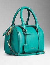 NWT Burberry Small Alchester Leather Bowling Bag Aqua Blue Teal Green $1595