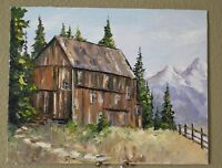 Oil Painting Rustic House in Mountains Landscape Original Signed Artist US
