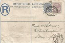 1886 2d REGISTERED LETTER SENT TO BIRMINGHAM UPRATED HALFPENNY & 1d SEE SCANS