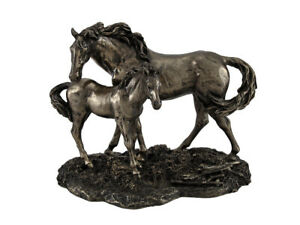 Mare and Foal Wild Horses Bronzed Statue