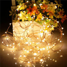 100LEDS Warm White LED Battery Micro Rice Wire Copper Fairy String Lights Party