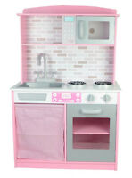 Childrens Kids Pink Wooden Pretend Play Kitchen Toy Play-Set Oven Sink Cooker