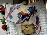VTG Silk Sheer Mid Century Floral 16 x 42 1/2 Long Scarf Red Blue Black GVC