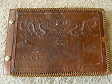 Vintage China Marines Leather Dragon Photo Album-Tsingtao Tissue with Dedication