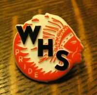 WHS American Indian Mascot Pride Lapel Pin - Vintage High School Sports Souvenir
