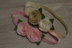 STYLE_STREET Baby Stirnband Filz Blüte Blume Mädchen Haarband Kopfband