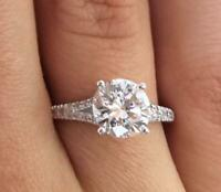 2.2 Carat Round Cut Diamond Engagement Ring SI1/D White Gold 18k 6097