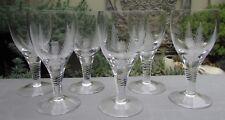 VINTAGE SET 6 STUART CRYSTAL SHERRY GLASSES WOODCHESTER FERN PATTERN