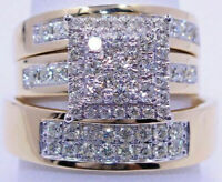 NEW 14K Yellow Gold Over Diamond Wedding Bridal Engagement Ring His Her Trio Set