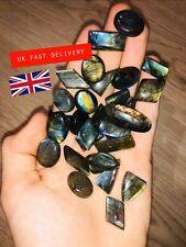 Mini Natural Labradorite Mixed Shape Multi Flash Cabochon Gemstones Lot 30 Pcs