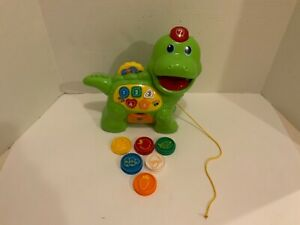 VTech Chomp and Count Dinosaur Pull toy 6 org Coin Tokens to feed him Works