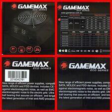 GAMEMAX 500W ATX POWER SUPPLY 12CM FAN 3x SATA & 2x MOLEX + 6 PIN VIDEO