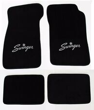 New! Black Carpet Floor Mats 1967-1976 Dodge Dart Swinger Logo Silver Set of 4