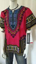 Hippie Boho Tribal African Dashiki Cotton T Shirt Kaftan Pink Mexican Poncho