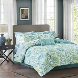 Chic Teal Blue & Green Oversize Medallions Comforter Set AND Matching Sheet Set