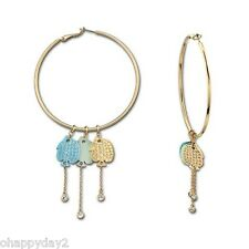 signed Swarovski~Live ~ gold HOOP EARRINGS~ 3 removable Fish Charms~ New~ $95