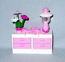 NEW LEGO PINK & WHITE CHEST OF DRAWERS, DRESSER WITH LAMP, FLOWERS, BRUSH & COMB