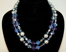 Beautiful!! Vintage Purple Blue AB Faux Pearl Double Strand Necklace