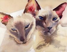 "Giclee Print Siamese Oriental Cat Art Painting ""Cogs"" lilac point"