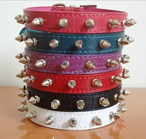 Nice Cute Leather Spiked Studded Dog Collars Puppy Small Dog Cat Pet Collars