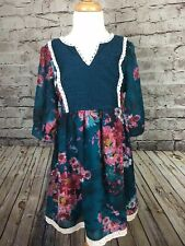 Zunie Girls Teal Berry Floral Dress Lace Fall Winter V Neck 3/4 Sleeve 10