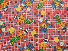 Vintage Novelty Scarecrow Cotton Fabric on Red Check 1+ Yards