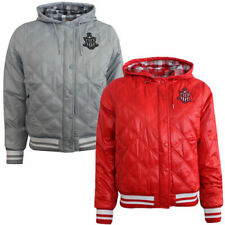 Nike Ad Varsity Womens Girls Quilted Hooded Bomber Jacket Grey Red 418562 PO