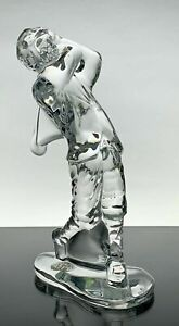 """WATERFORD Exclusive Crystal Male Golfer Sculpture Trophy Décor 16.5cm 6.5"""" New"""