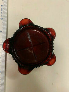 Vintage Small Ruby Red Round Etched Glass Ashtray Beautiful Excellent Condition