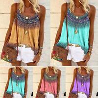 Womens Boho Summer Tank Top Vest Camisole Blouse Casual Beach Sleeveless T-shirt