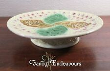 Unusual Antique Majolica Alternating Leaf & Daisy Low Cake Stand
