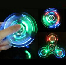 Transparent Crystal LED Fidget Hand Spinner Relief Fingertip EDC Finger Gyro Toy