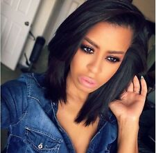Short bob straight 100% human Hair Lace Front/Full lace wigs   baby hair around