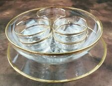 Glass Gold Rimmed 8 Piece Dinner Serving Set