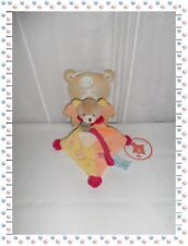 ☻- Doudou Semi Plat Ours Beige Orange Jaune Rouge Attache Sucette  Baby Nat