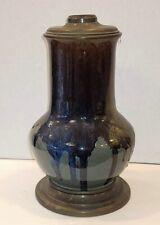"Antique Drip Glaze Pottery Oil Lamp Base Victorian Era 15"" Asian Or American?"