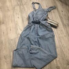 Vintage Denim Light Wash Hi Waist Bib Overalls Cherokee XL