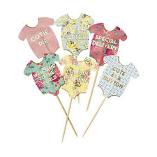 24 x Baby Shower Cake Topper Decorations Cupcake Food & Drink Picks Babygrows