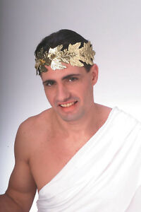 Adult Roman Head Wreath Senator Gold Foil Headband Laurel Leaf Toga Accessory