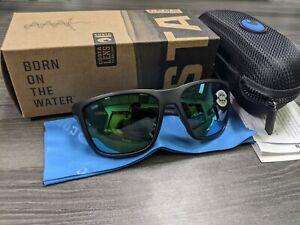 Brand New Costa Del Mar Sunglasses FERG Matte Black GREEN Mirror 580G Polarized