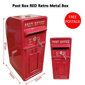 Cast Iron ER Royal Mail Post Box Postal Box Red British Mailbox