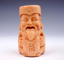 Boxwood Hand Carved Netsuke Sculpture Miniature Blessing Immortal #06011707