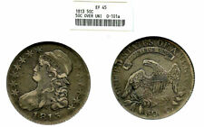 1813 50C RARE OVER UNI XF45 ANACS-CAPPED BUST HALVE---