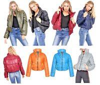 Womens WetLook Crop Jacket Warm Coats Padded Bomber Bubble Puffer Short Puffa UK