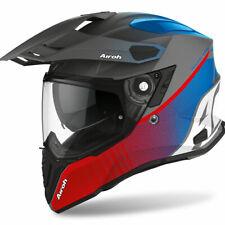 Motorcycle Helmet Motard Enduro off Road Airoh Commander Progress Red Blue Matt