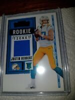 Justin Herbert R/C Swatch Emerald V insert 2020 Contenders Rookie Ticket#RSV-JHE