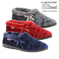 Dunlop Womens Gemma Memory Foam Fur Cuffed Brocade Velvet Snug Slip On Slippers