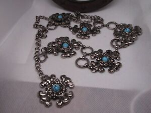 SOUTHWEST SILVER TURQUOISE LINK CONCHO CROSS BELT WESTERN NATIVE AMERICAN LADIES